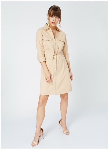 Fabrika Comfort Fabrika Comfort Kadın Bej Kuşaklı Elbise Bej